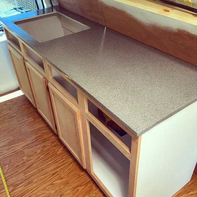 Countertop Turned Out Great For Being Made Of Plywood And Spray Painted Diy Builtnotbought Diycampervan Campervan Vanlife Vanconversion